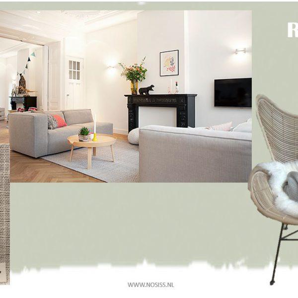 interieuradvies indeling woonkamer grijze bank rotan stoel kamer ensuite