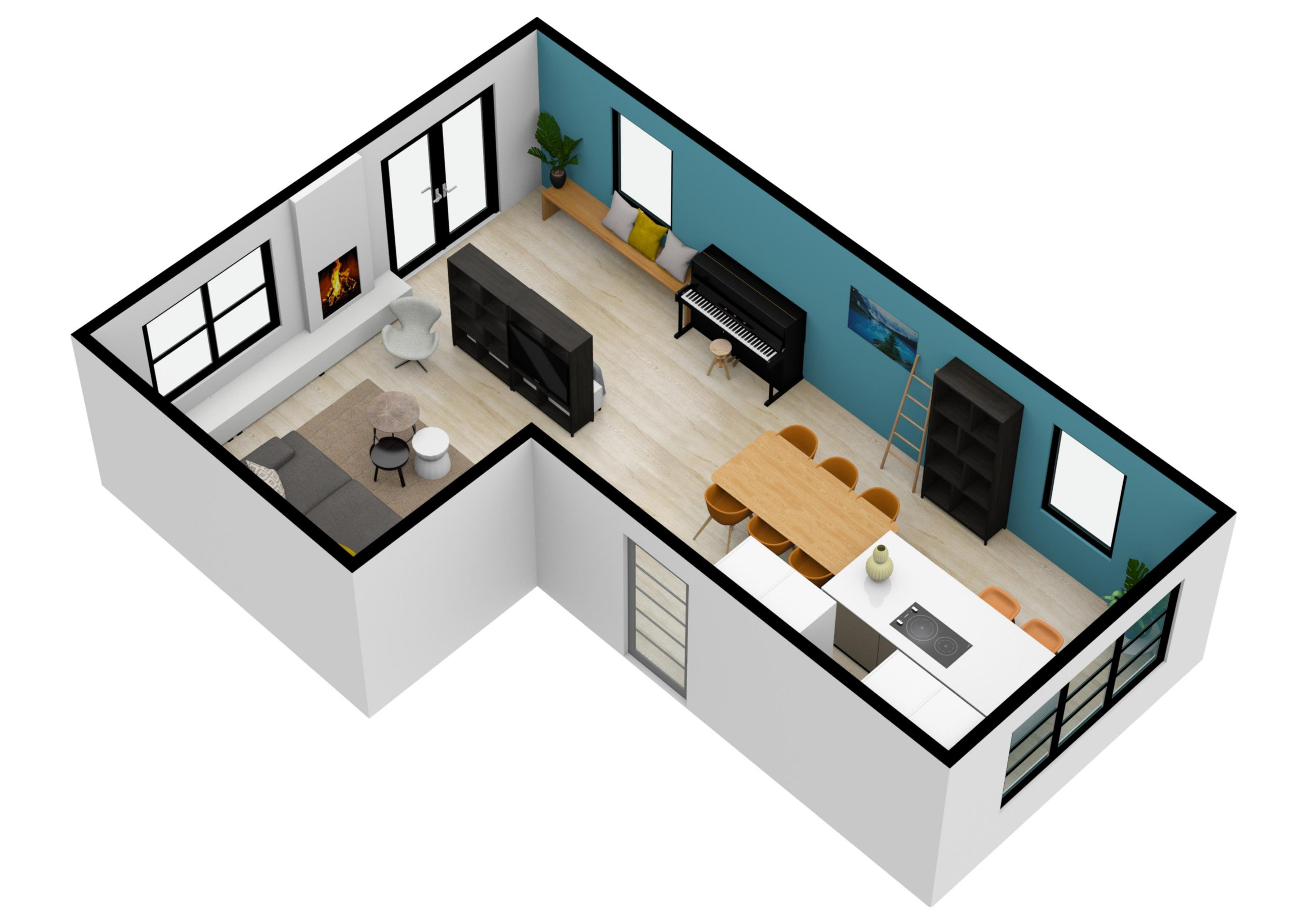 3d afbeelding woonkamer keuken